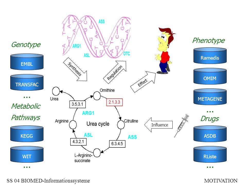 ... ... ... ... Phenotype Genotype Metabolic Pathways Drugs