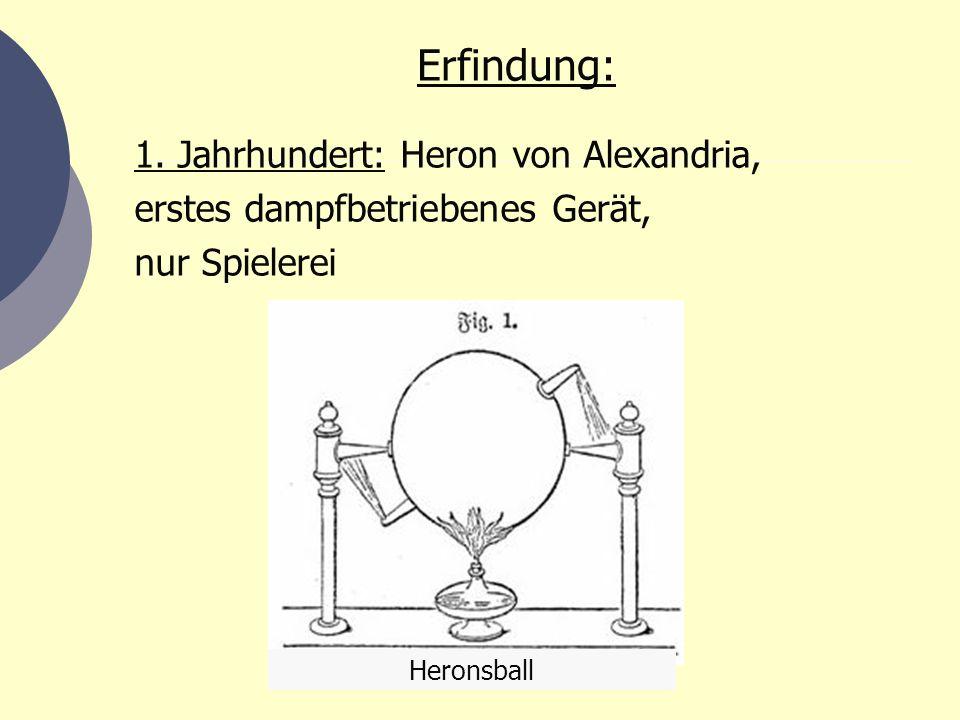 Erfindung: 1. Jahrhundert: Heron von Alexandria,
