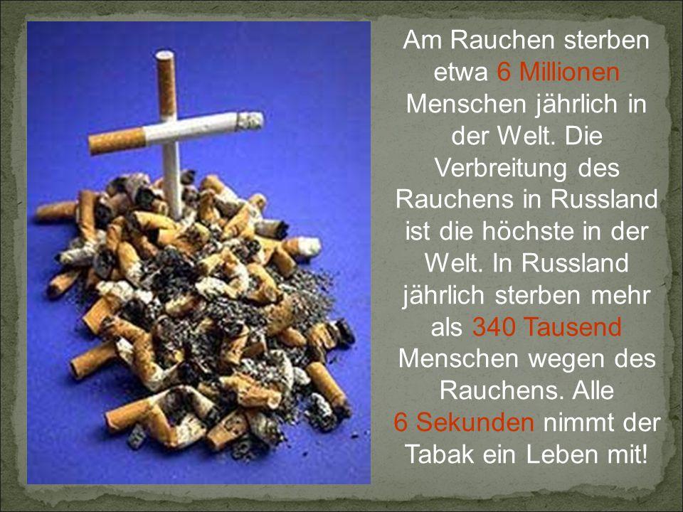 6 Sekunden nimmt der Tabak ein Leben mit!