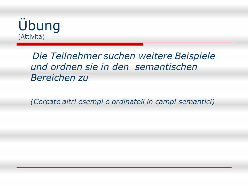 Übung (Attività) Die Teilnehmer suchen weitere Beispiele und ordnen sie in den semantischen Bereichen zu.