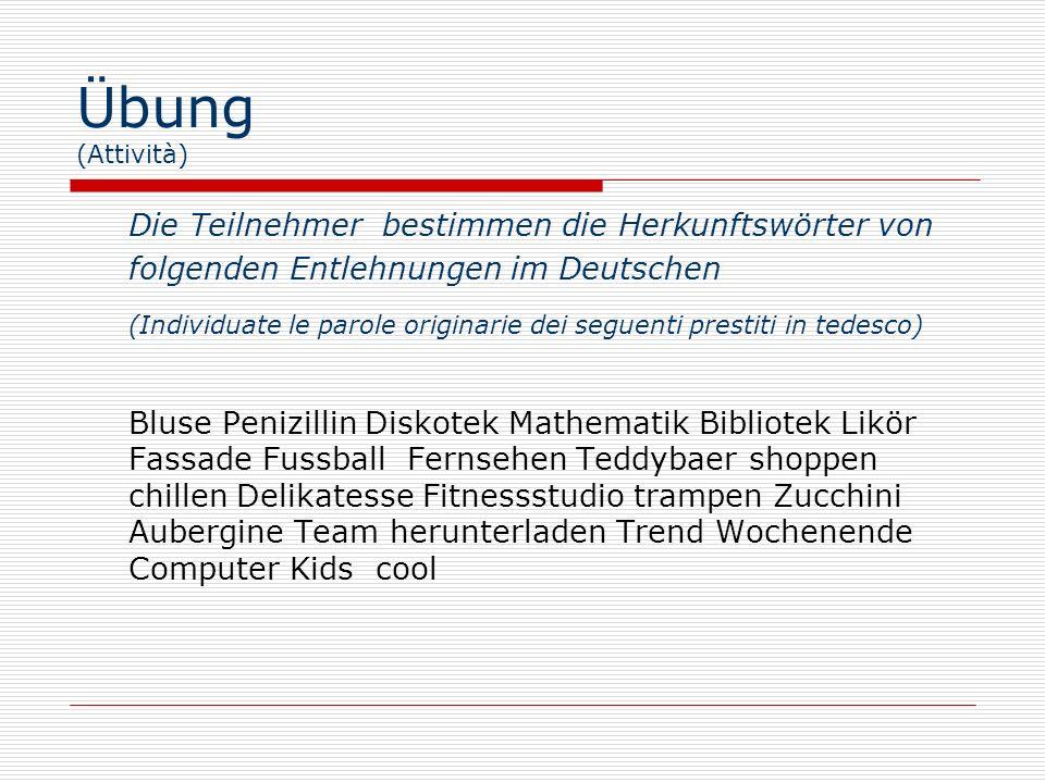Übung (Attività)Die Teilnehmer bestimmen die Herkunftswörter von folgenden Entlehnungen im Deutschen.