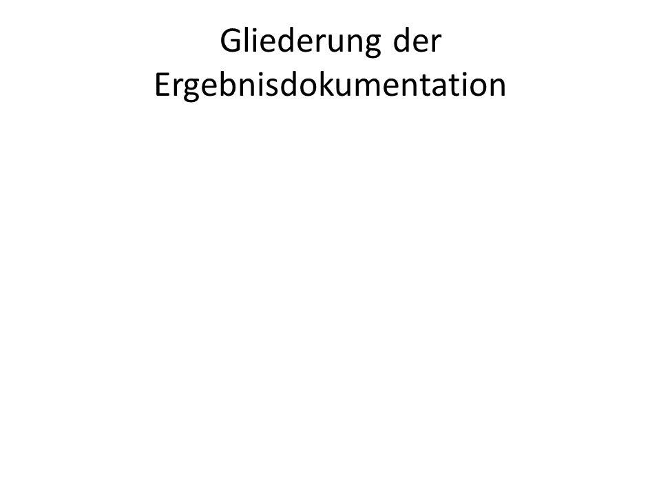 Gliederung der Ergebnisdokumentation