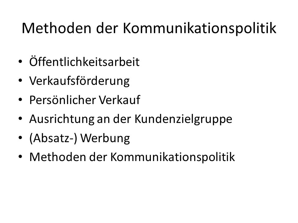 Methoden der Kommunikationspolitik