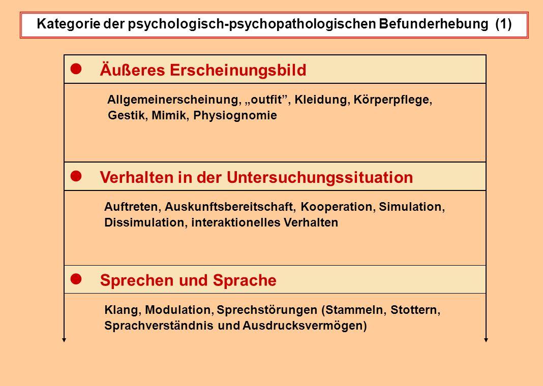 Kategorie der psychologisch-psychopathologischen Befunderhebung (1)