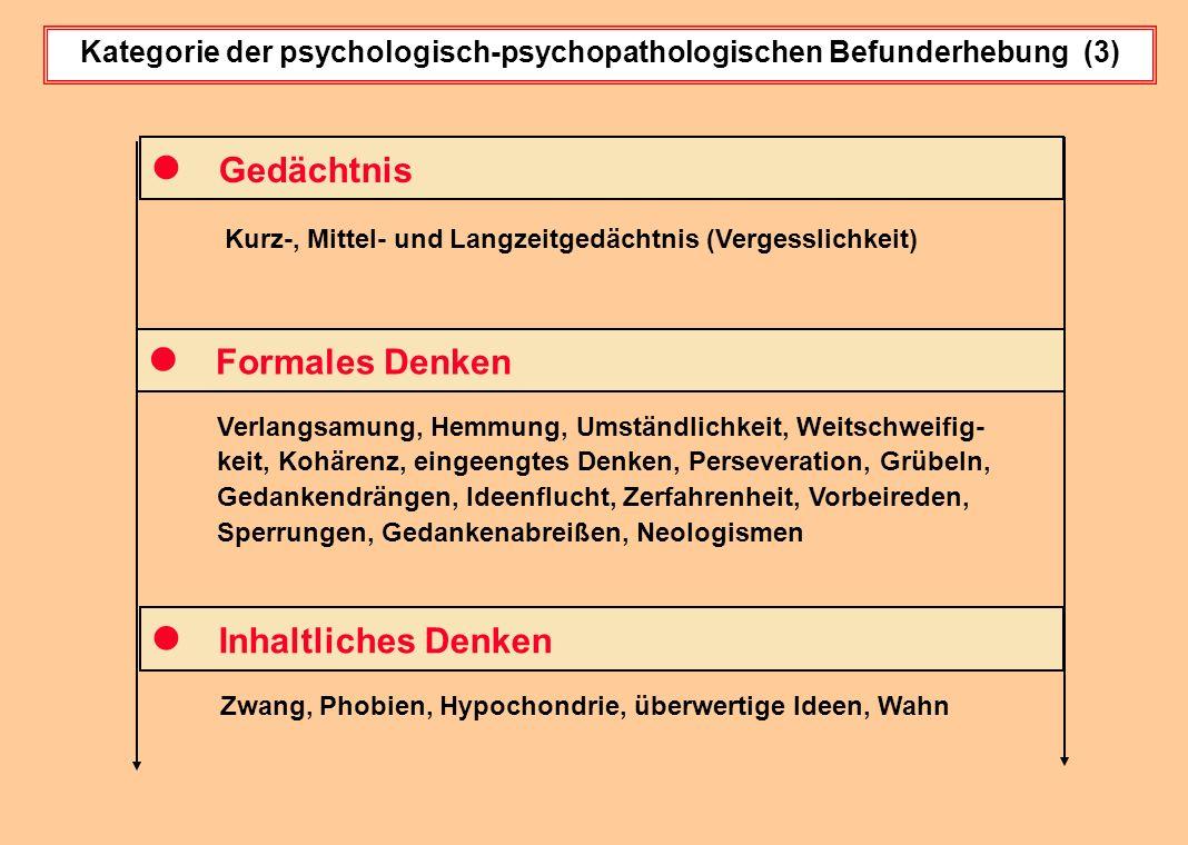Kategorie der psychologisch-psychopathologischen Befunderhebung (3)