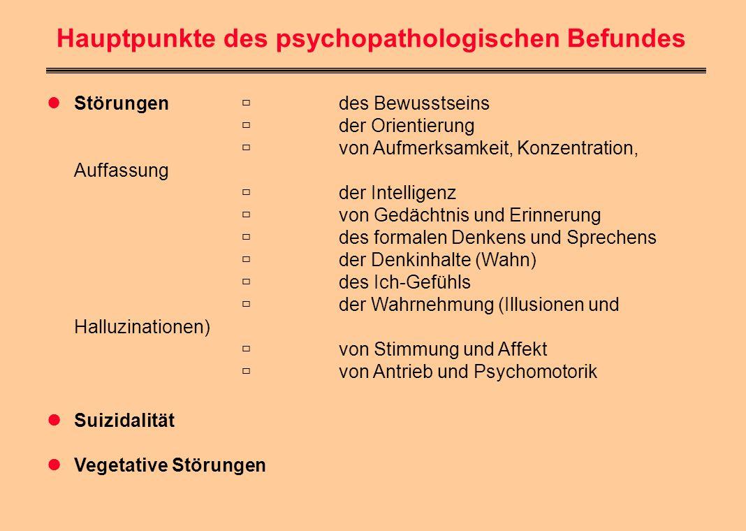 Hauptpunkte des psychopathologischen Befundes