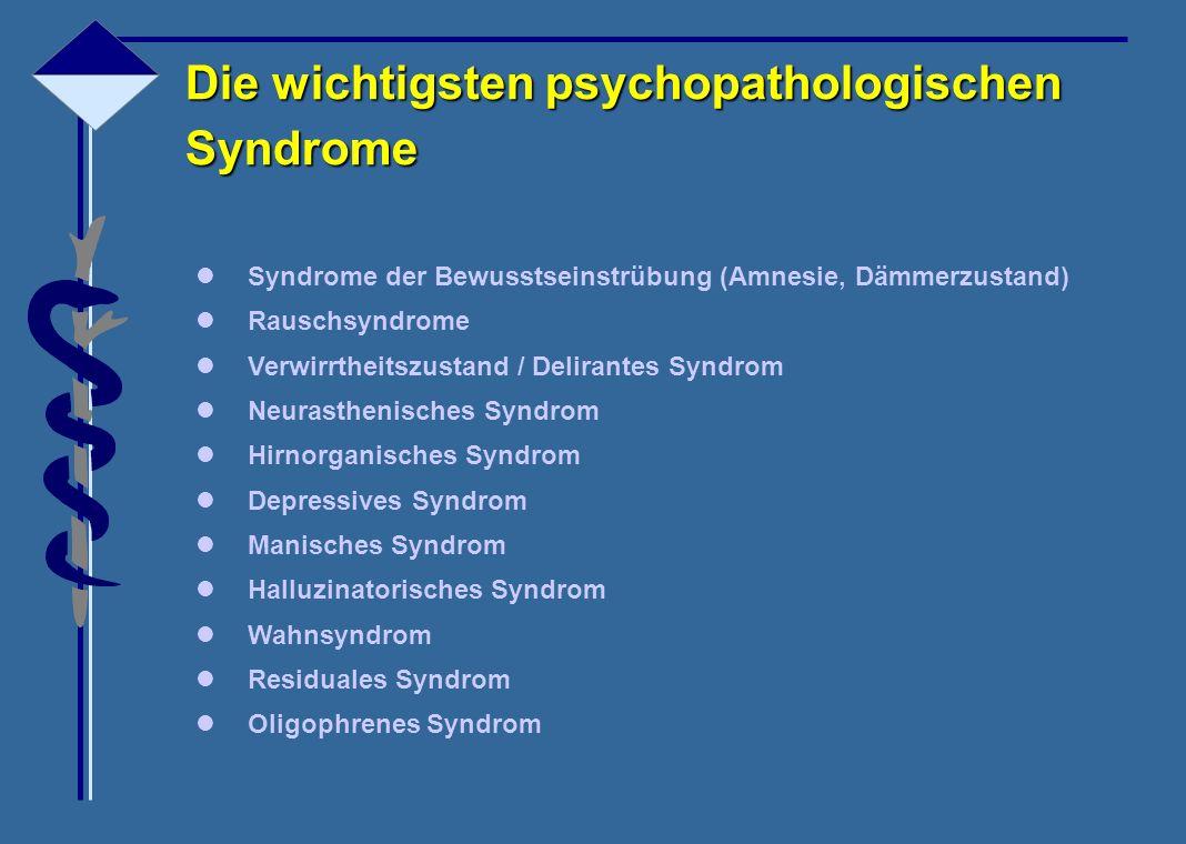 Die wichtigsten psychopathologischen Syndrome