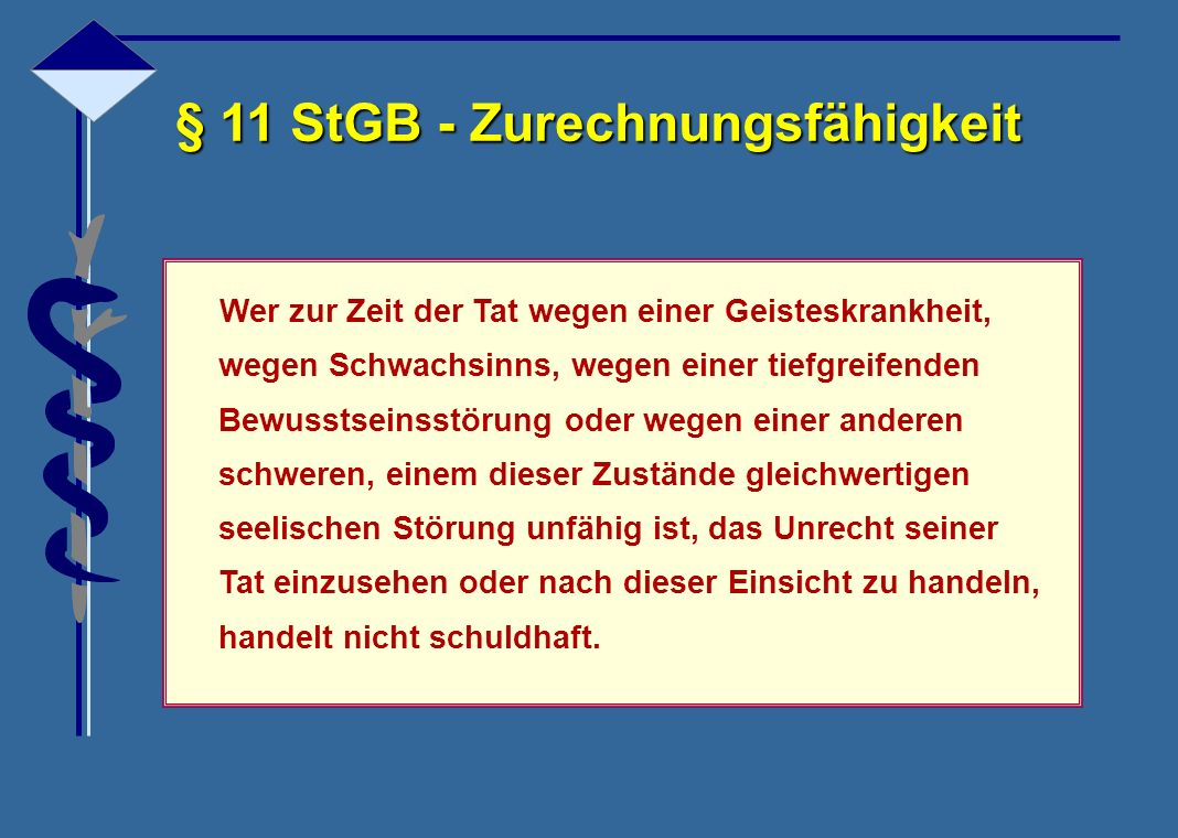 § 11 StGB - Zurechnungsfähigkeit