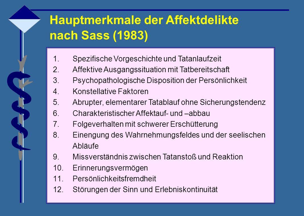 Hauptmerkmale der Affektdelikte nach Sass (1983)