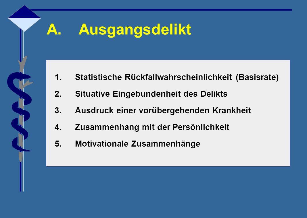 A. Ausgangsdelikt Statistische Rückfallwahrscheinlichkeit (Basisrate)