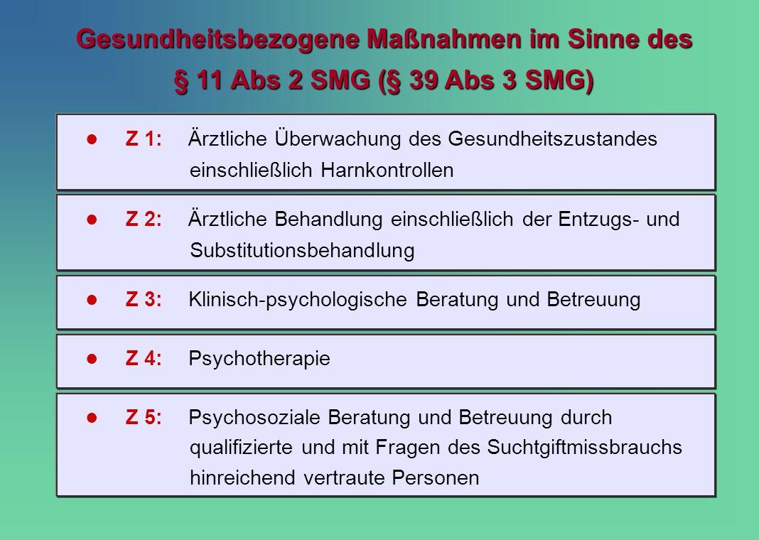 Gesundheitsbezogene Maßnahmen im Sinne des § 11 Abs 2 SMG (§ 39 Abs 3 SMG)
