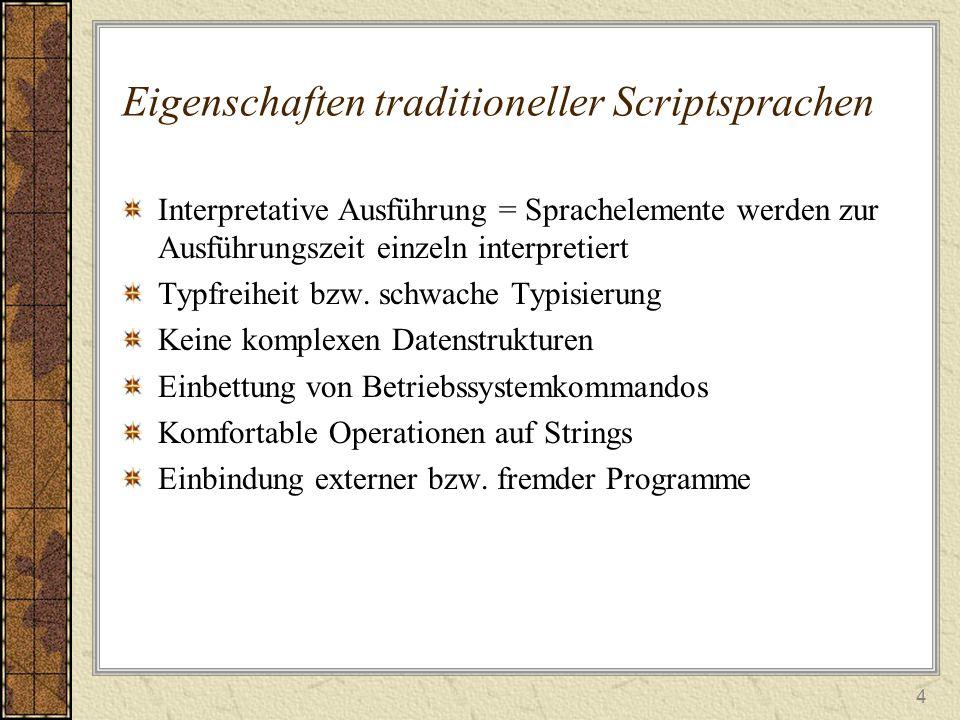 Eigenschaften traditioneller Scriptsprachen