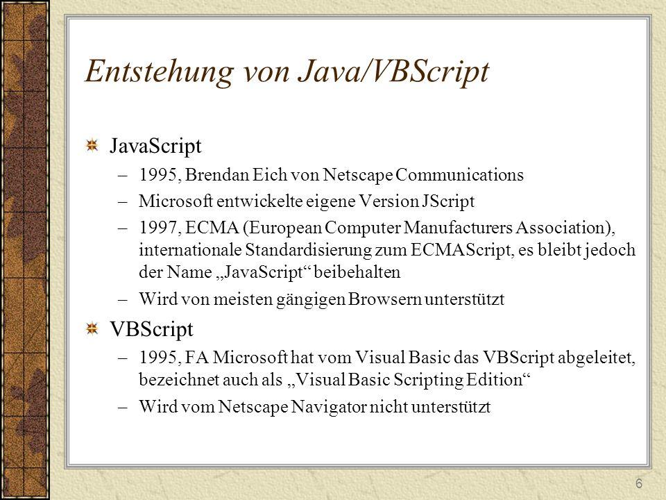 Entstehung von Java/VBScript