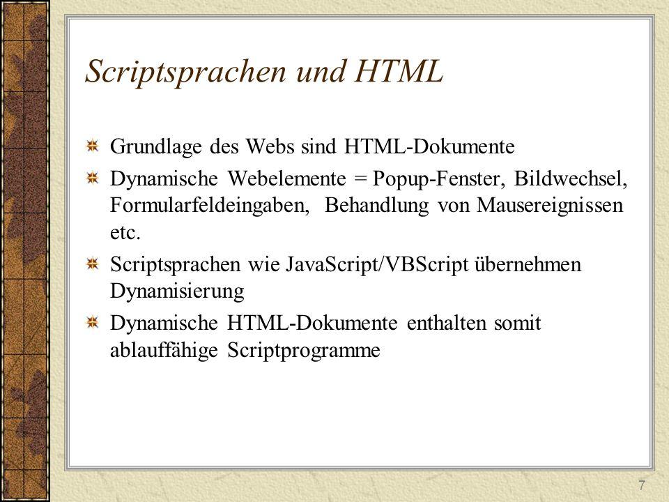 Scriptsprachen und HTML