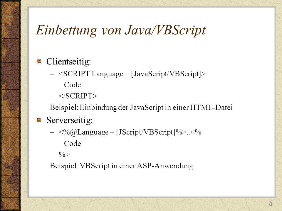 Einbettung von Java/VBScript