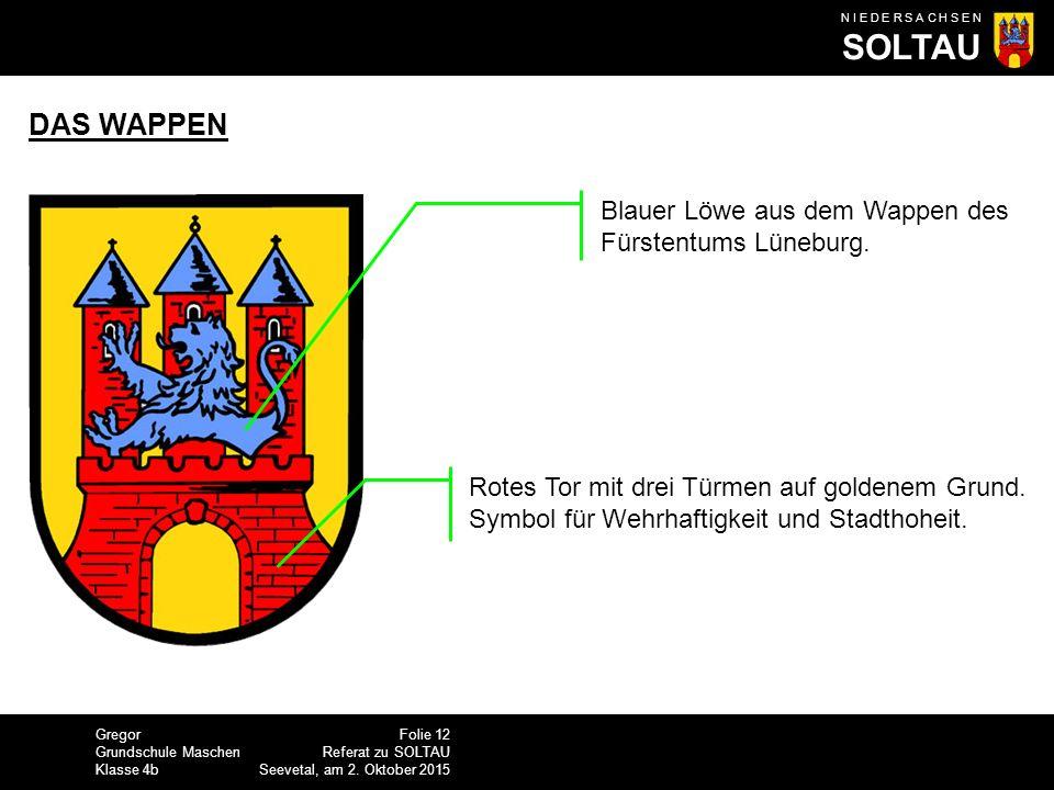 DAS WAPPEN Blauer Löwe aus dem Wappen des Fürstentums Lüneburg.