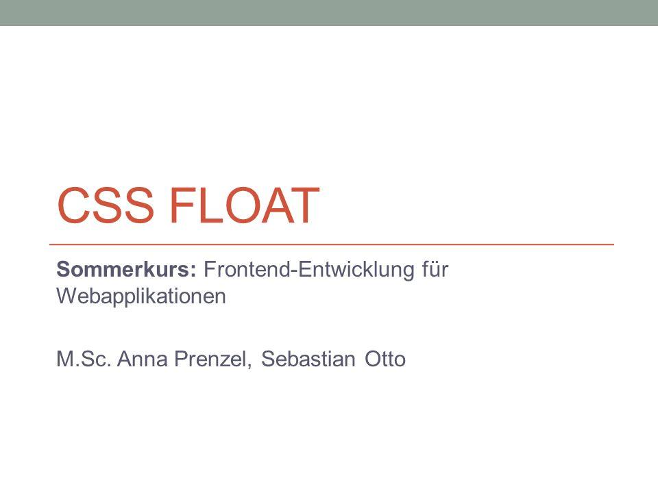 CSS Float Sommerkurs: Frontend-Entwicklung für Webapplikationen