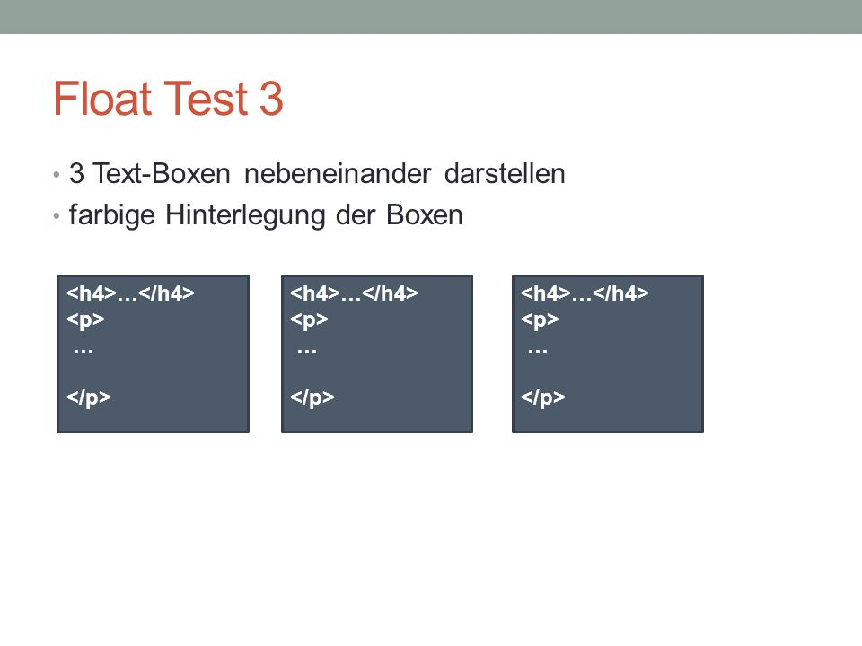 Float Test 3 3 Text-Boxen nebeneinander darstellen
