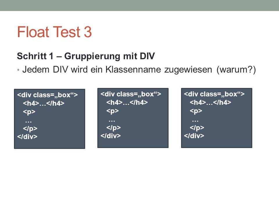 Float Test 3 Schritt 1 – Gruppierung mit DIV