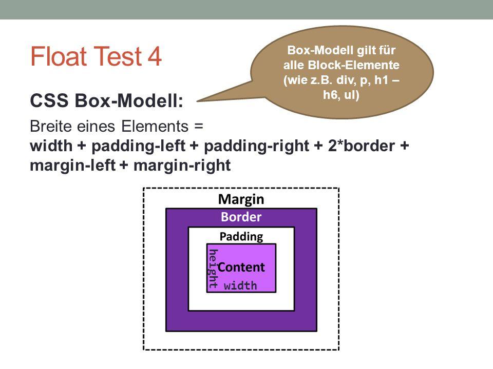 Box-Modell gilt für alle Block-Elemente (wie z.B. div, p, h1 – h6, ul)