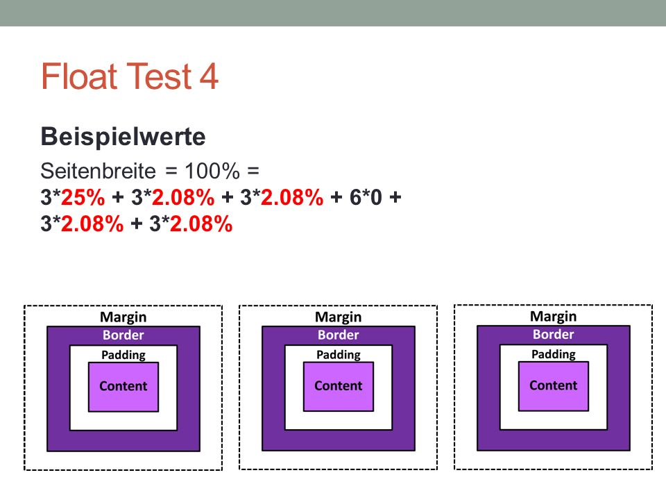 Float Test 4 Beispielwerte