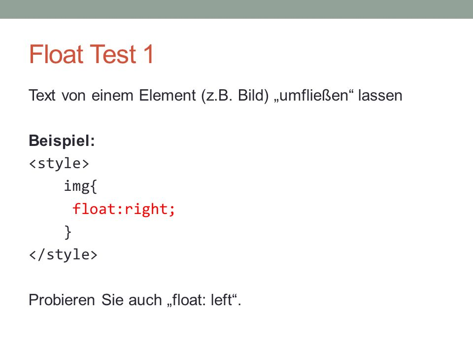 Float Test 1 Text von einem Element (z.B.