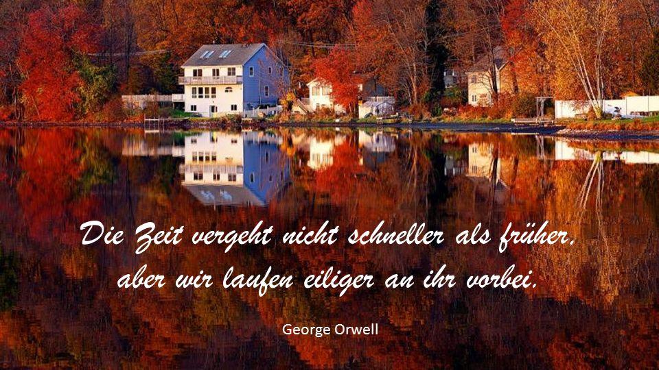 Die Zeit vergeht nicht schneller als früher, aber wir laufen eiliger an ihr vorbei. George Orwell