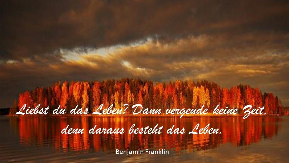Liebst du das Leben Dann vergeude keine Zeit, denn daraus besteht das Leben. Benjamin Franklin