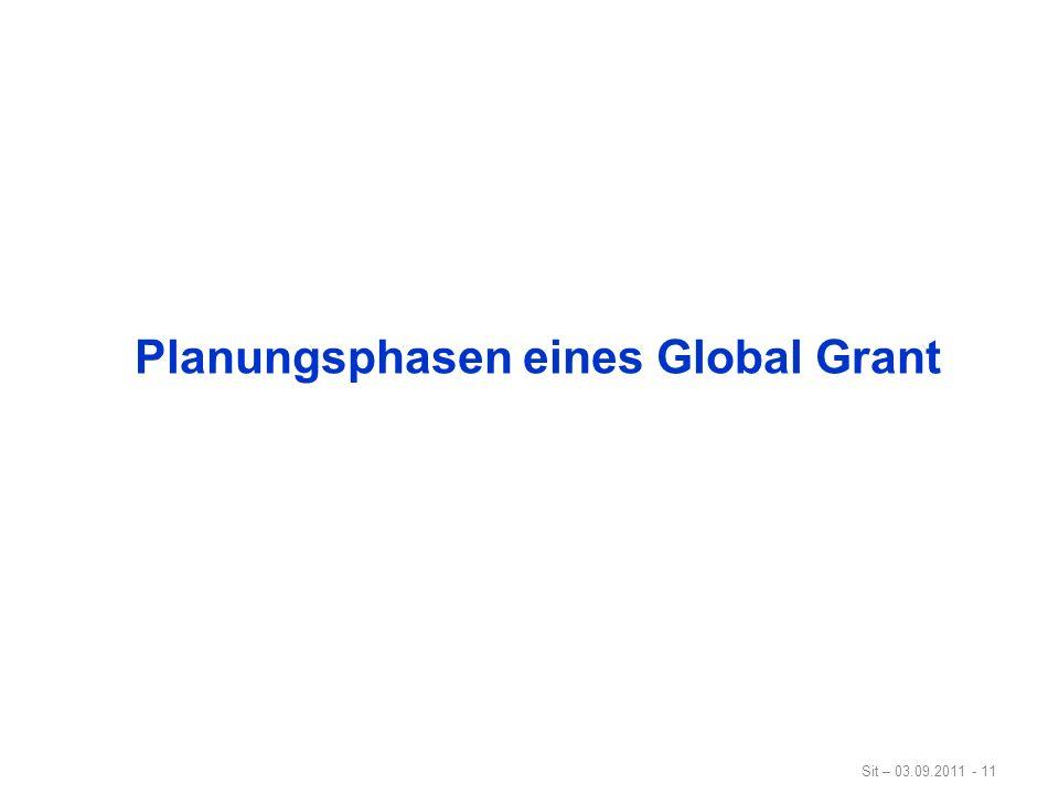 Planungsphasen eines Global Grant