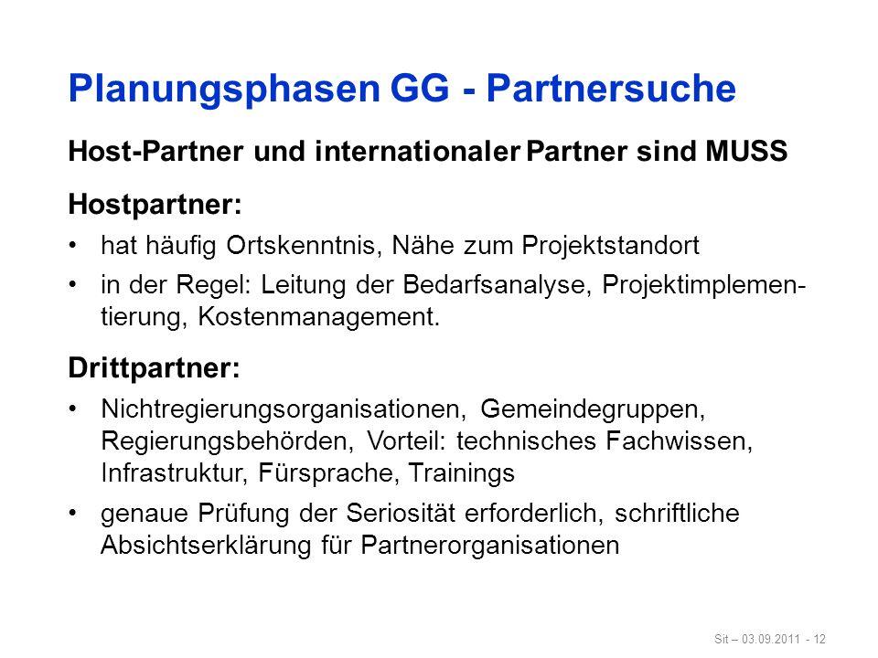 Planungsphasen GG - Partnersuche