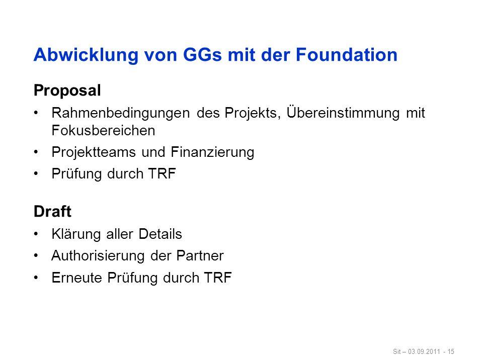 Abwicklung von GGs mit der Foundation
