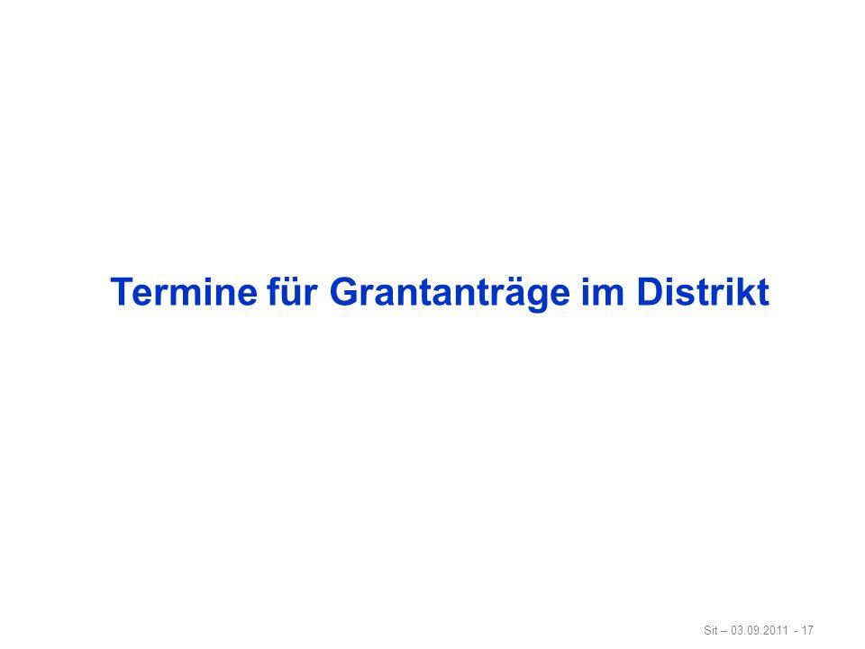Termine für Grantanträge im Distrikt