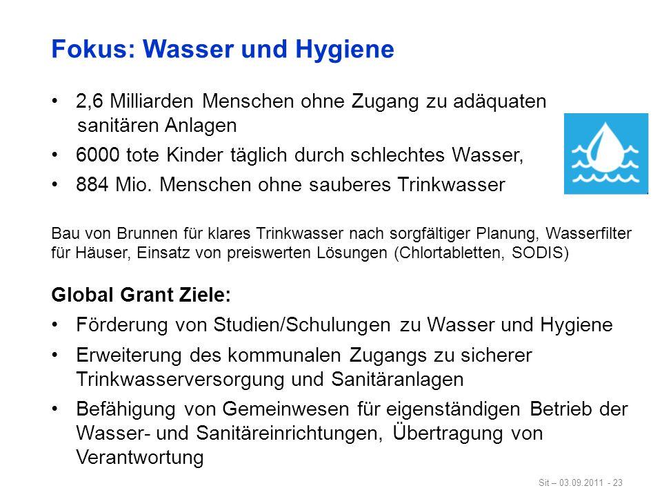 Fokus: Wasser und Hygiene