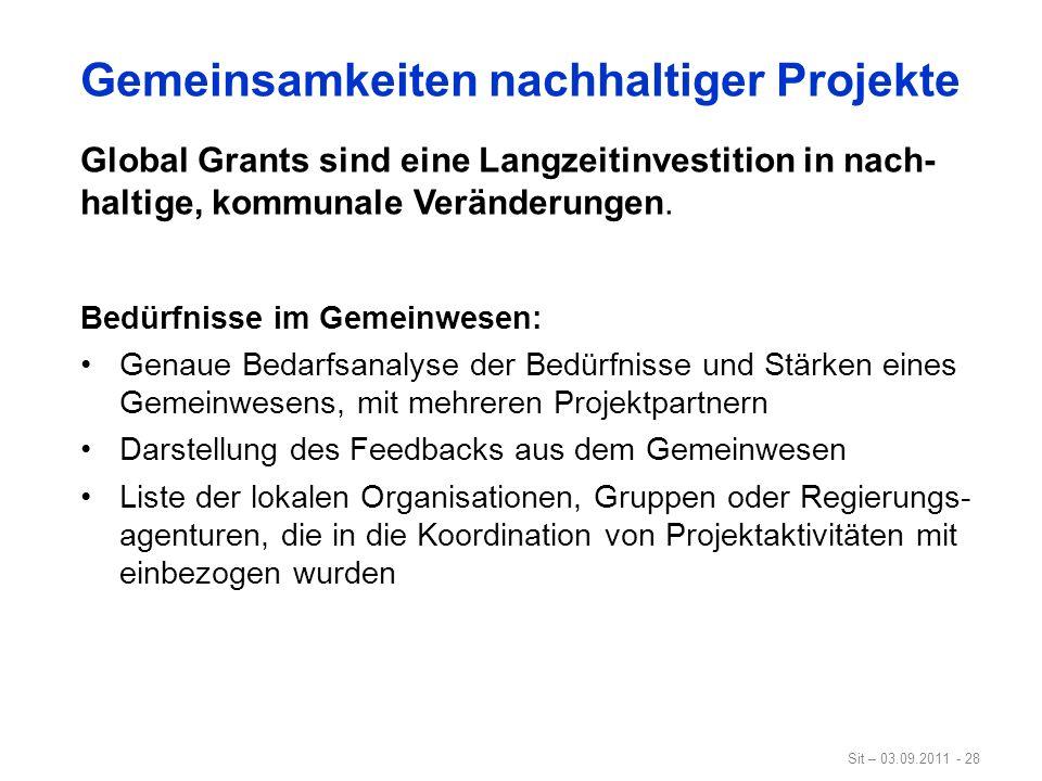 Gemeinsamkeiten nachhaltiger Projekte