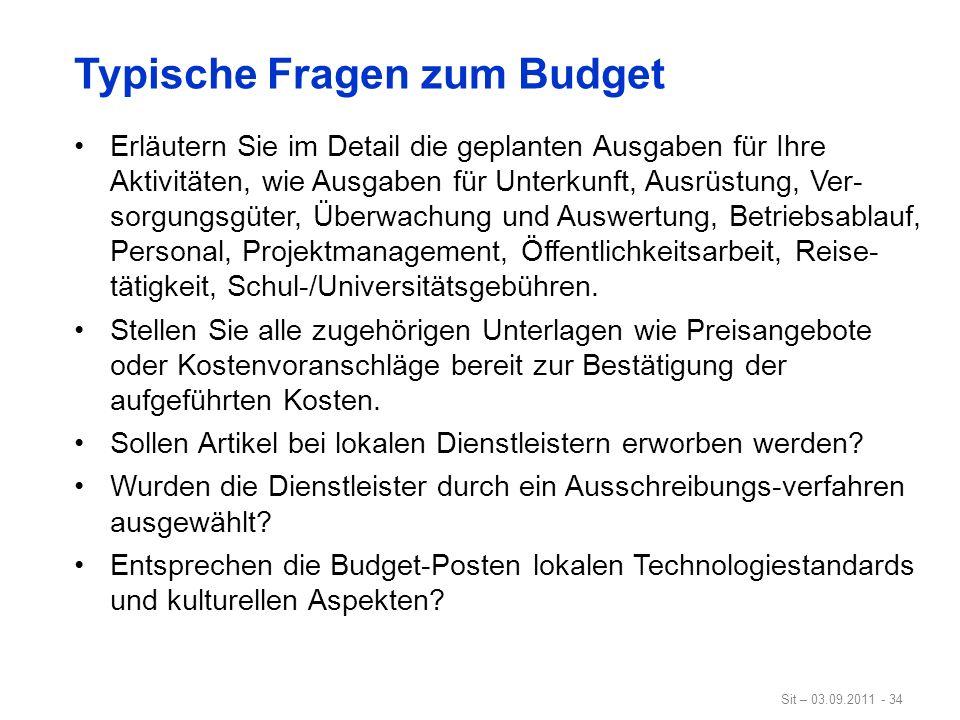 Typische Fragen zum Budget