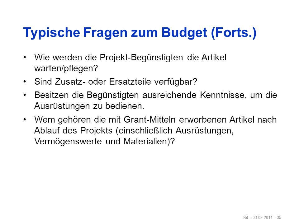 Typische Fragen zum Budget (Forts.)