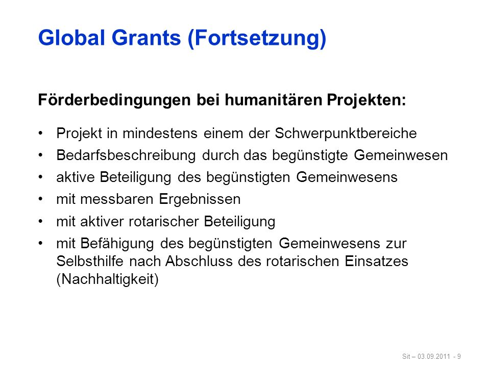 Global Grants (Fortsetzung)