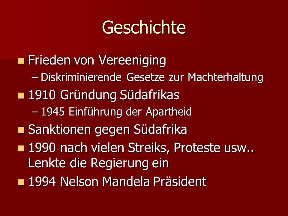 Geschichte Frieden von Vereeniging 1910 Gründung Südafrikas