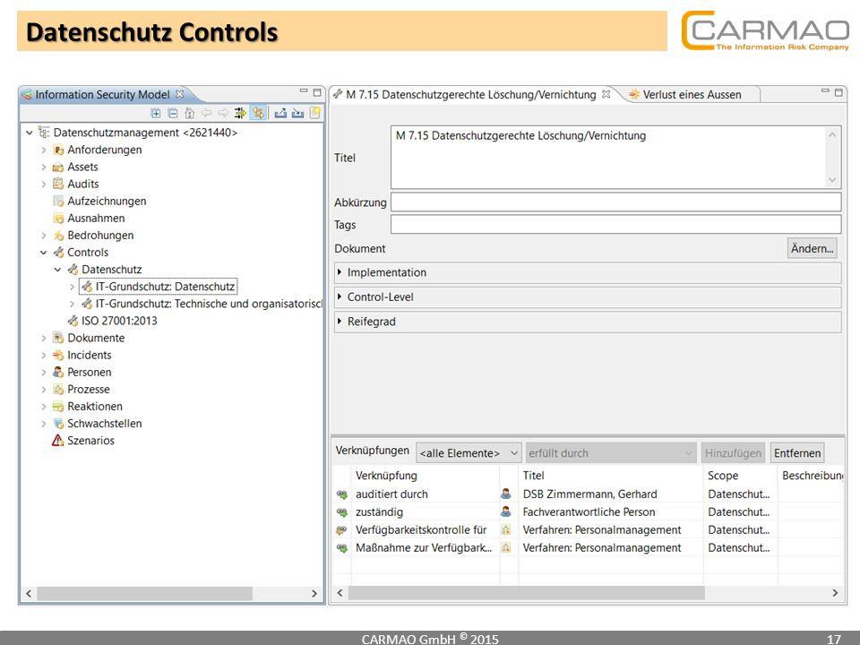 Datenschutz Controls CARMAO GmbH © 2015