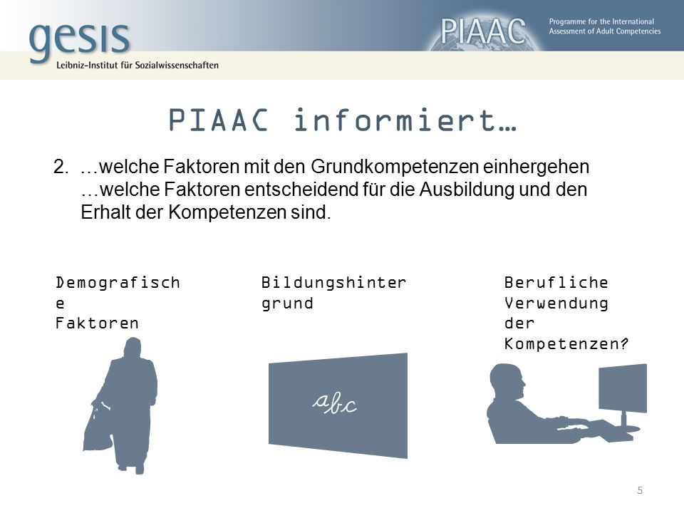 PIAAC informiert… …welche Faktoren mit den Grundkompetenzen einhergehen.