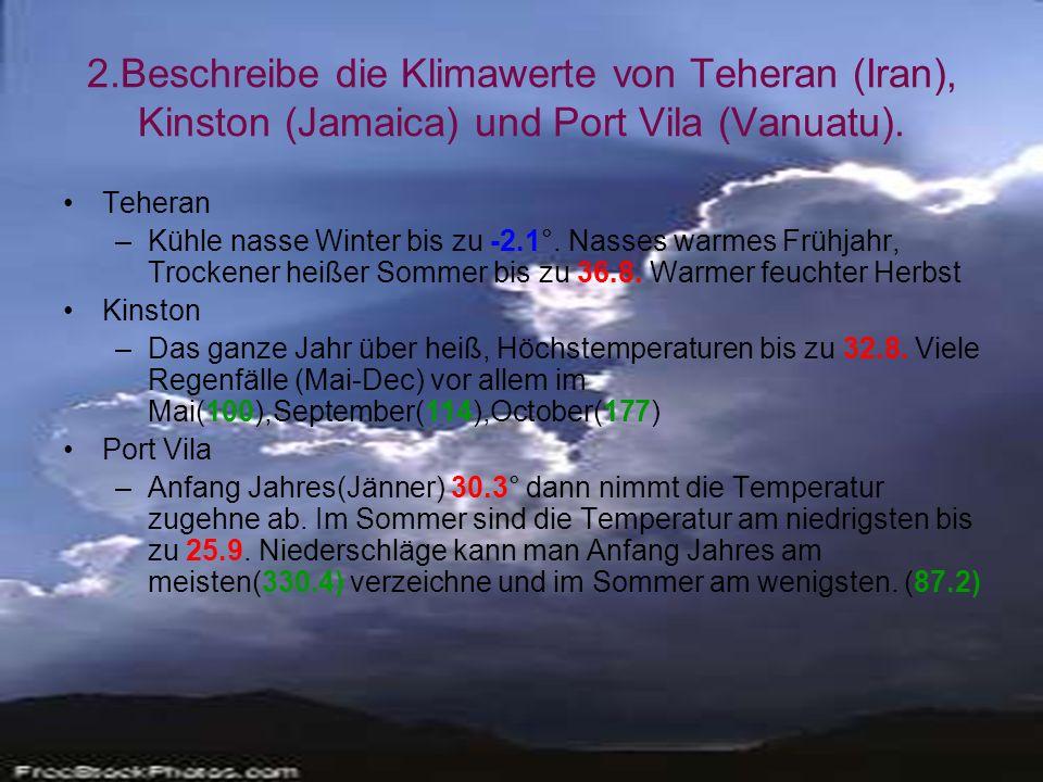 2.Beschreibe die Klimawerte von Teheran (Iran), Kinston (Jamaica) und Port Vila (Vanuatu).