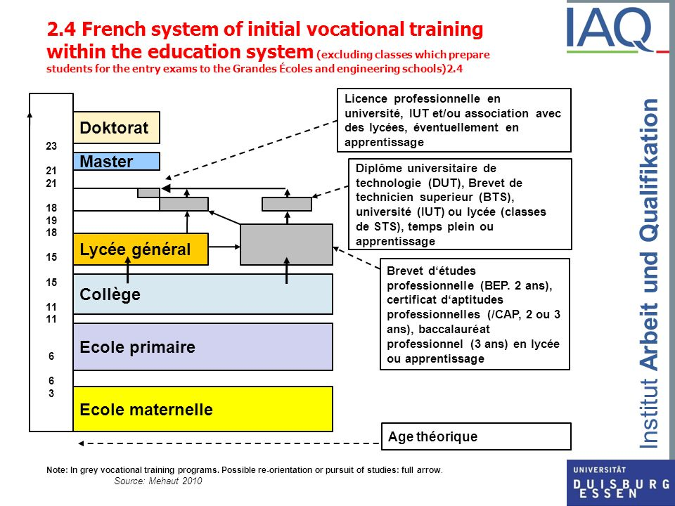 2.4 French system of initial vocational training within the education system (excluding classes which prepare students for the entry exams to the Grandes Écoles and engineering schools)2.4