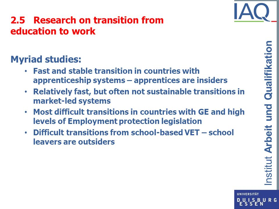 2.5 Research on transition from education to work