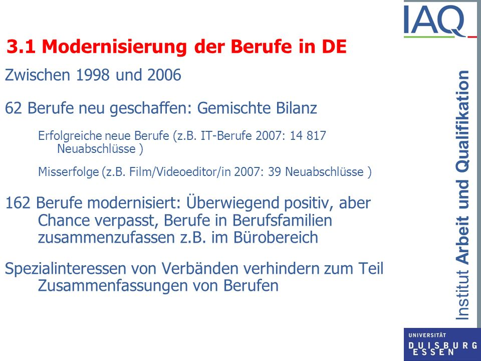 3.1 Modernisierung der Berufe in DE