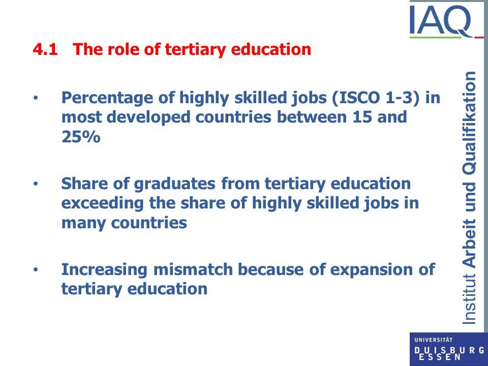 4.1 The role of tertiary education