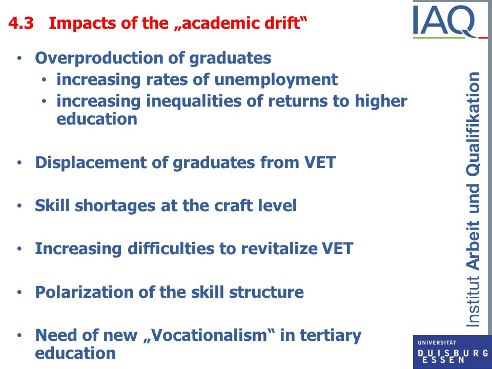 "4.3 Impacts of the ""academic drift"