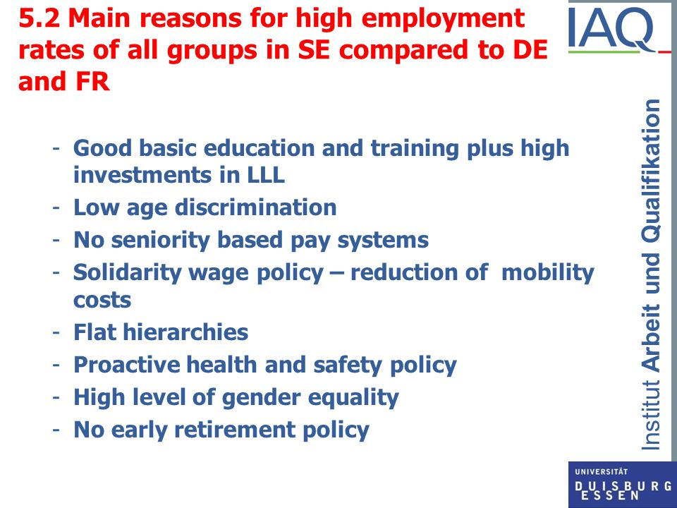 5.2 Main reasons for high employment rates of all groups in SE compared to DE and FR