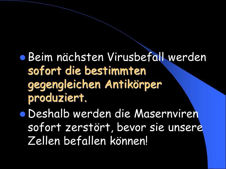 Beim nächsten Virusbefall werden sofort die bestimmten gegengleichen Antikörper produziert.