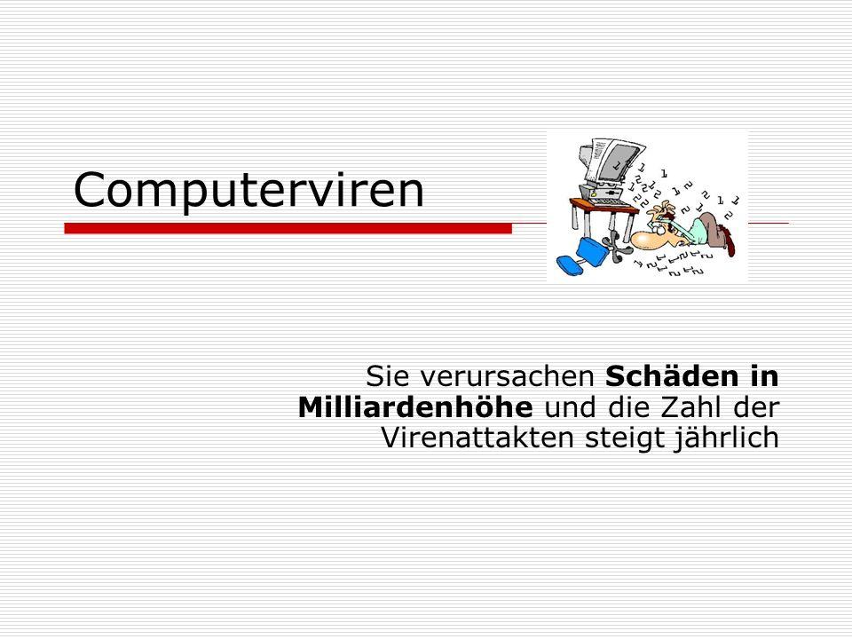 Computerviren Sie verursachen Schäden in Milliardenhöhe und die Zahl der Virenattakten steigt jährlich.