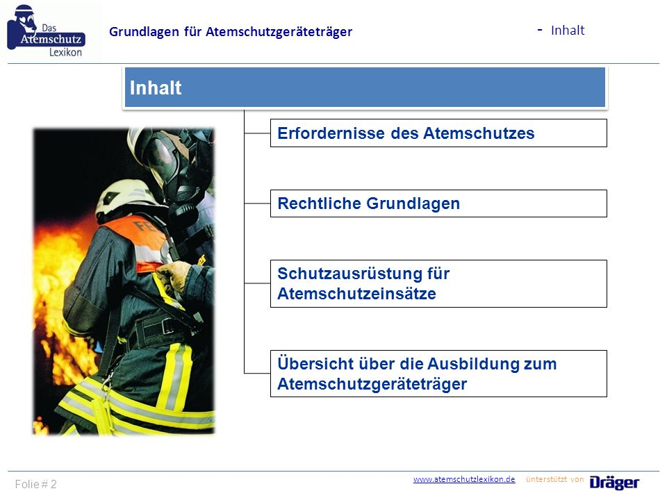 - Inhalt Inhalt Erfordernisse des Atemschutzes Rechtliche Grundlagen